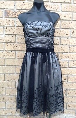 Vintage Cocktail Dress Size 10 Black Chiffon Beaded Strapless Dress Ballerina