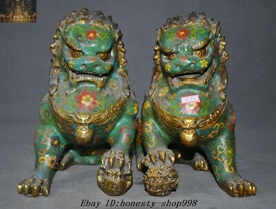 Old Chinese Fengshui Bronze Cloisonne enamel gilt Foo Dog Lion Beast Statue Pair