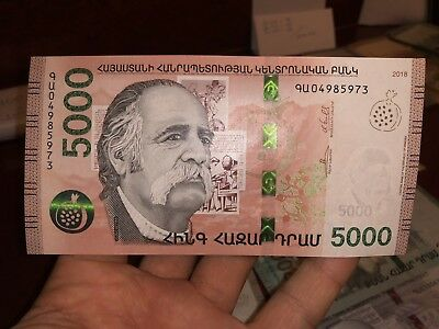 2018 ARMENIA 5000 WHOLESELLER DRAM NEW BANKNOTE armenian drams unc note