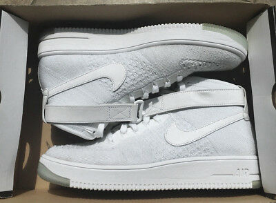 NIKE AIR FORCE 1 AF1 FLYKNIT WHITE US 8,5 9,5 ultra 818018
