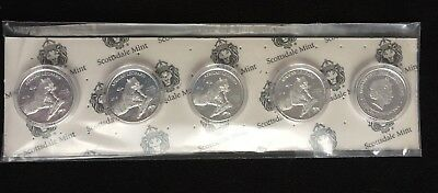 Mint Pack of 5: 2018 Republic of Ghana 1 oz Silver 5 Cedi African Leopard BU