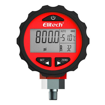 Elitech PG-30Pro Red Digital Pressure Guage 87 Refrigerants Alarm 0~800ppi