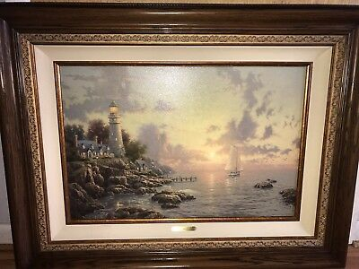 Thomas Kinkade Painting The Sea Of Tranquility Wall Art. Framed Large With COA