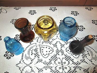 Miniature Wheaton BOTTLES Lot of 5 Assorted Colors Vintage Bottles TAIWAN
