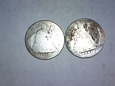 1856 & 1890 Silver Seated Liberty Dime Lot Of 2