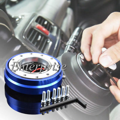 Blue Steering Wheel Short SLIM Quick Release Hub Adapter Racing Car Snap Off
