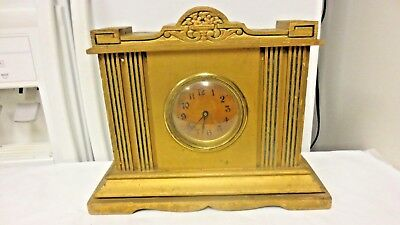 Vintage Made in USA marked  Wood Wind Up Mantle Shelf Clock-TO BE RESTORED