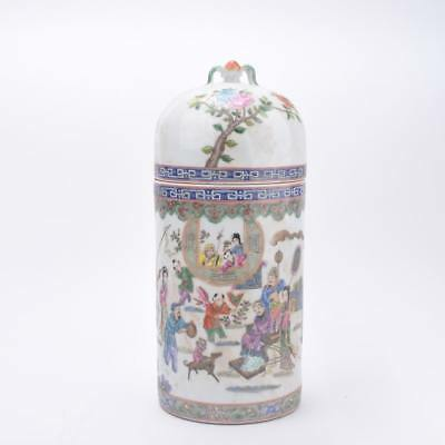 "Chinese Old Marked Famille Rose Porcelain Lid Jar  15"" H"