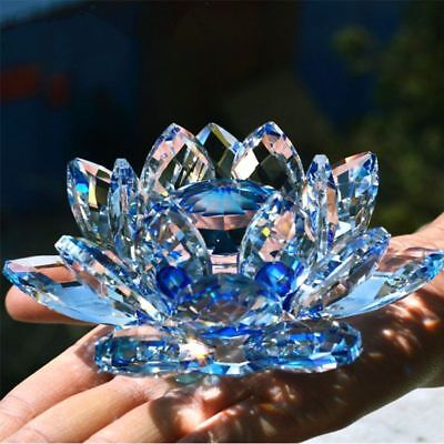 Quartz Crystal Lotus Flower Crafts Glass Ornaments Figurines Home Decor Gift