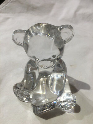 Waterford Crystal Teddy Bear With Building Block Figurine Paperweight