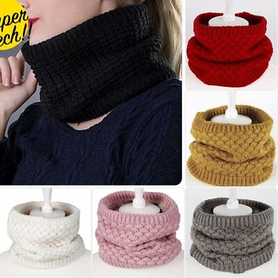 Winter Fleece Snood Scarf Wool Knit Thickened Neck Warmer For N3