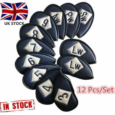 Golf Iron Head Covers 12 Pcs/Set PU Leather Club Headcover Left Handed Pack Ping