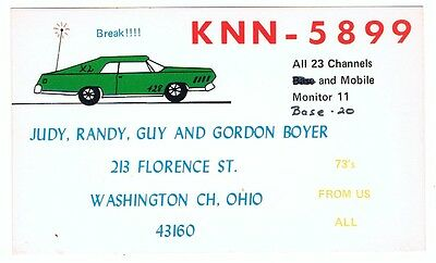Old 1960s Muscle Car Auto Postcard QSL Ad Card CB Ham Radio Washington CH Ohio