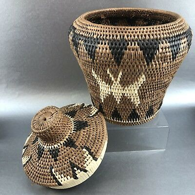 """Large Rare 11"""" Vintage Native American Indian Basket Leather Rawhide Grass Mint"""