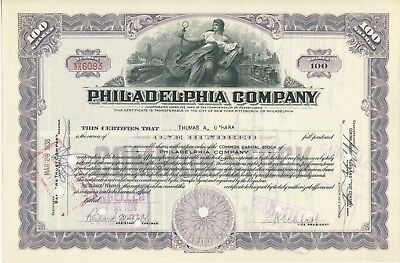 Philadelphia Company stock certificate ISSUED Cancelled trolley Pittsburgh