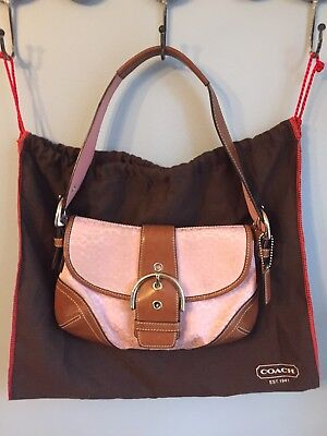 e976651edb ... italy authentic coach pink brown shoulder purse bag f06818 with dust bag  47a30 cce31