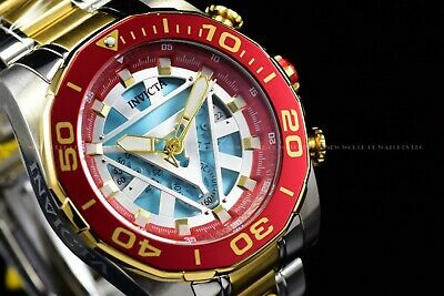 "Invicta 39mm Limited Edition Marvel ""IronMan"" Bolt Chrono 24K Gold Red SS Watch"
