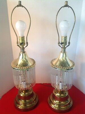 Vintage Pair Of Scolari Style Brass & Glass Rods Waterfall Table Lamps