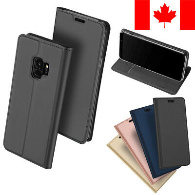 Slim Leather Flip Wallet Card Holder Case For Samsung Galaxy S9