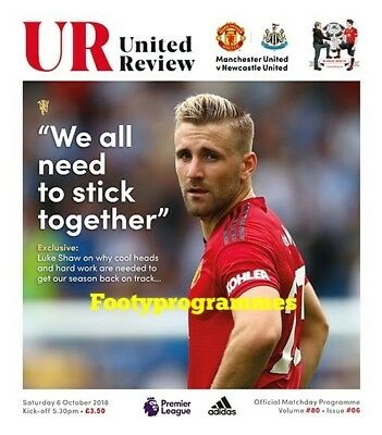 Manchester United V Newcastle United 2018/19 official programme.
