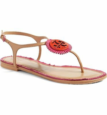 38d6b73cc801 NEW Tory Burch Fringe Miller Logo Thong Sandal Shoe Pink Red Samba Leather  7 8.5