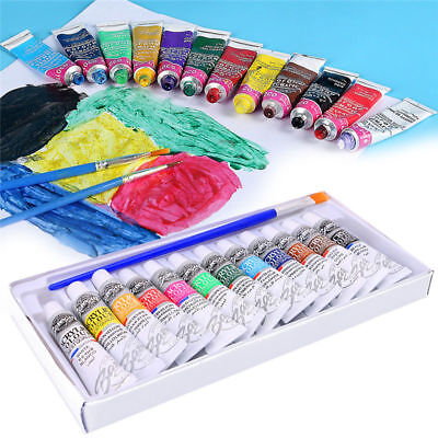 12 Color Acrylic Paint Set 6 ml Tubes Artist Draw Painting Pigment