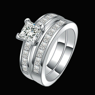 Hot 2x Women 3.75 Ct Princess Cut AAA CZ Stainless Steel Wedding Ring Size 6-10