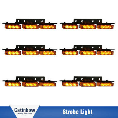 Amber / Yellow 54 LED Emergency Warning Strobe Lights Bars Car Dash Grille Tow