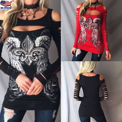 US Womens Hollow Cold Shoulder Long Sleeve Ripped Slim Casual Blouse Top T-Shirt
