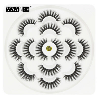 7 Pairs 3D Mink Hair False Eyelashes Wispy Cross Long Lashes Makeup Soft Hair