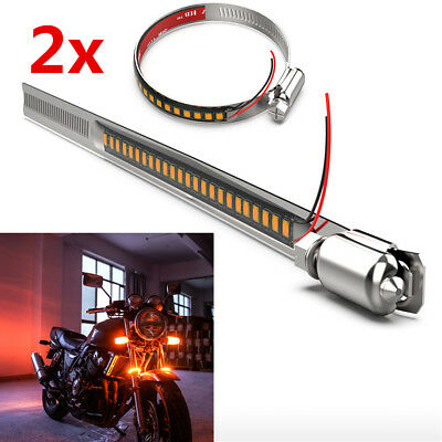 2x Stainless Steel Clamp LED Motorcycle Fork Turn Signal Indicator Light Strip