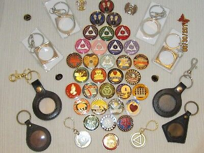 A.A., Alcoholics Anonymous, Narcotics Anonymous, coins, medallions, key chain
