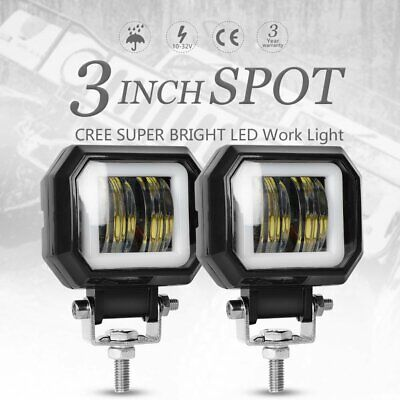 2X 3inch 20W Cree LED Spot Square Work Lights Driving Pod Offroad Motorcycle Atv
