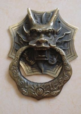 Collection Chinese Old Copper Dragon Head Mask Statue Gate Door Knocker