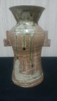 """Antique 8"""" by 5 1/2"""" Asian Old Vase  Signed Chinese or Japanese with Square Ears"""