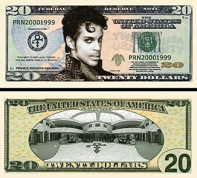 Prince $20 Dollar Bill Fake Play Funny Money Novelty Note with FREE SLEEVE