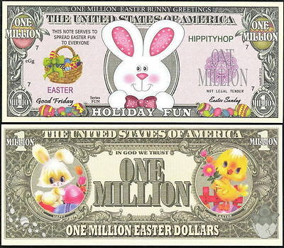 Easter Bunny Holiday Fun Million Dollar Bill Fun Money Novelty Note +FREE SLEEVE