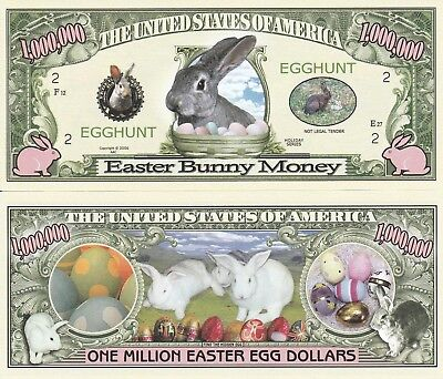Easter Bunny Egg Hunt Million Dollar Bill Funny Money Novelty Note + FREE SLEEVE