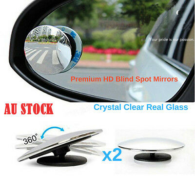 Blind Spot Mirror x 4 Rimless HD Glass Wide Angle 360° Convex Mirrors Rear View