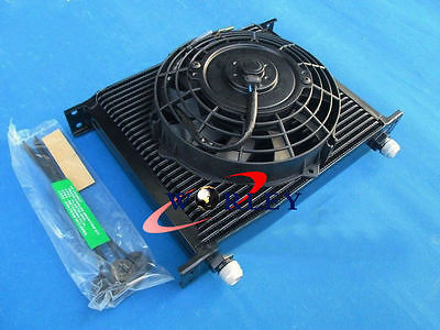 """30 Row 10 AN Universal Transmission Oil Cooler + 7"""" Electric Fan for S13 S14 R33"""