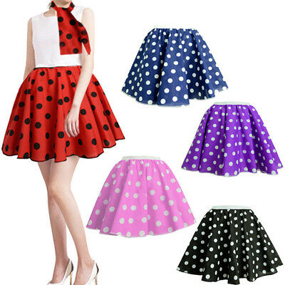 df80be228618 ADULTS POLKA DOT ROCK AND ROLL 50s SKIRT & SCARF FANCY DRESS COSTUME ...