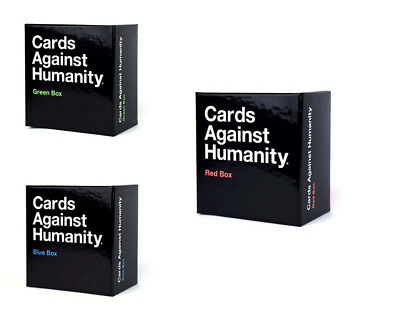 Cards Against Humanity Red Blue Green Box UK Expansion New Sealed 300 New Cards
