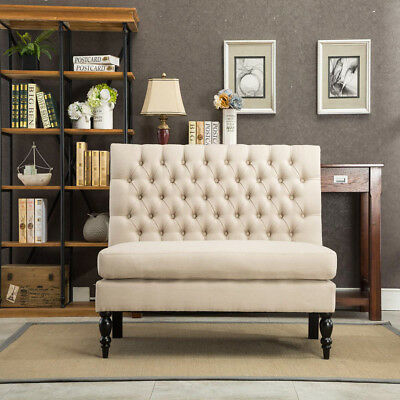 Button Tufted Settee Loveseat Sofa Couch Banquette Upholstered Bench Chair Khaki