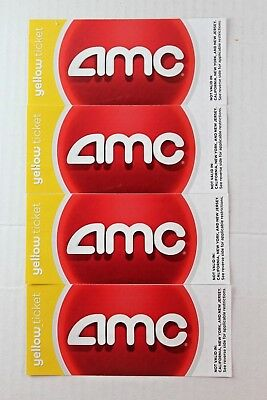 4 AMC Yellow Movie Tickets - Not Valid in CA, NY, NJ - Hard Copy - No Expiration