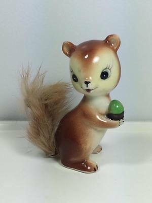 Vintage 1950's ceramic squirrel with real fur figurine made in Japan