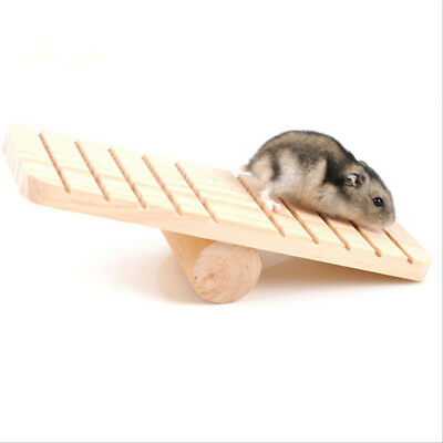 Small Animal Seesaw Rabbit Hamster Exercise Play Wooden Climbing Toy Supplies BE