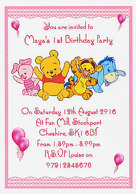 Pack Of 12 WINNIE THE POOH FRIENDS Child Personalised Birthday Invitations