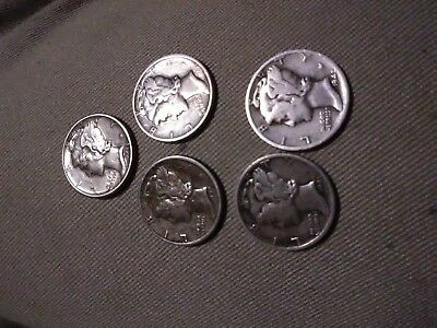 Mercury Dimes - Lot of 5, 1940's dates 90% Silver Mercury Dimes