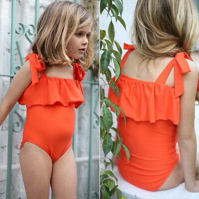 Newborn Baby Girls Solid Color Swimsuit  Bathing Suit Beachwear Swimming Costume