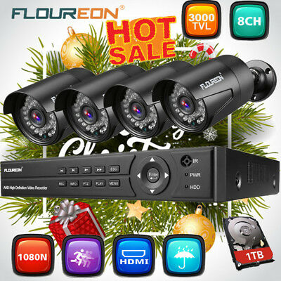 FLOUREON 4CH /8CH 1080N DVR Recorder Outdoor Camera CCTV Security System 1TB HDD